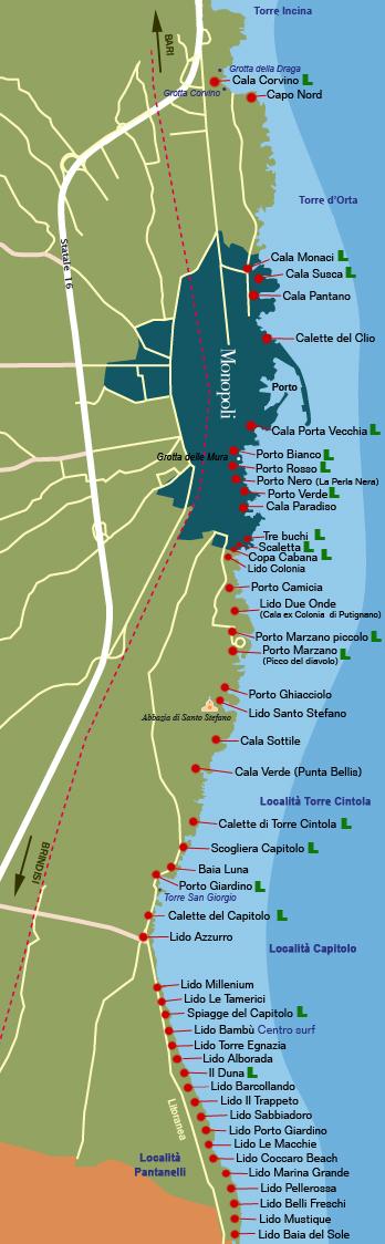 Monopoli Puglia Cartina.Monopoli Sole E Mare Il Territorio Bianca Di Puglia Vacanze In Masseria